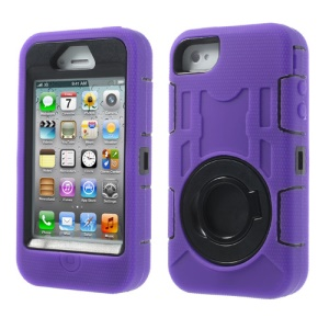 Purple for iPhone 4S 4 3 in 1 Plastic & Silicone High Impact Combo Shield Case w/ Circular Holder