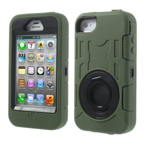 Army Green 3 in 1 for iPhone 4S 4 Plastic & Silicone High Impact Defender Case Cover w/ Circular Holder