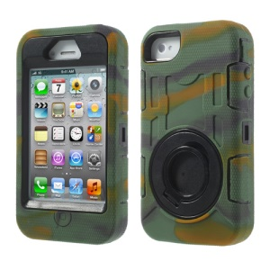Camouflage 3 in 1 for iPhone 4S 4 Plastic & Silicone High Impact Defender Case Shell w/ Circular Holder