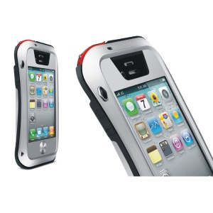 LOVE MEI Powerful Small Waist Metal + Silicone + Gorilla Glass Defender Cover for iPhone 4s 4 - Black / Silver