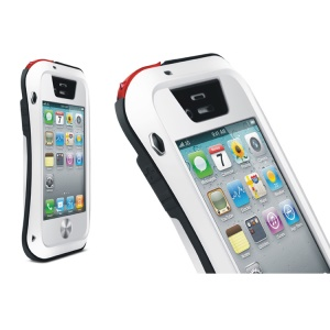 LOVE MEI Powerful Small Waist Metal + Silicone + Gorilla Glass Defender Cover for iPhone 4s 4 - Black / White
