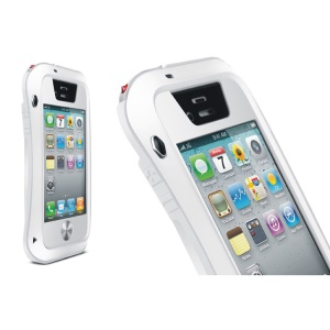 LOVE MEI Powerful Small Waist Metal + Silicone + Gorilla Glass Defender Cover for iPhone 4s 4 - White