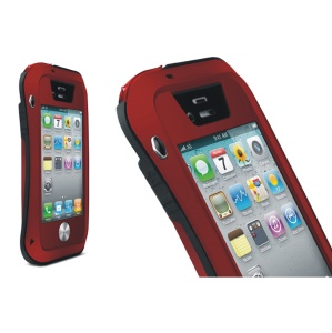 LOVE MEI Powerful Small Waist Metal + Silicone + Gorilla Glass Defender Cover for iPhone 4s 4 - Black / Red