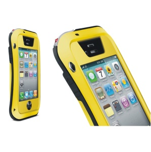 LOVE MEI Powerful Small Waist for iPhone 4s 4 Metal + Silicone + Gorilla Glass Defender Cover - Black / Yellow