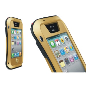LOVE MEI Powerful Small Waist for iPhone 4s 4 Metal + Silicone + Gorilla Glass Defender Shell - Black / Gold