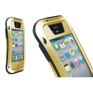 LOVE MEI Powerful Small Waist for iPhone 4s 4 Metal + Silicone + Gorilla Glass Defender Shell - Black / Champagne Gold