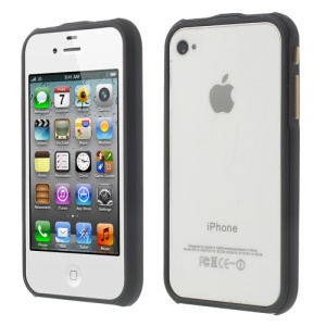 2 in 1 Magnetic Auto-absorbed PC Bumper Frame Case for iPhone 4 4S - Black