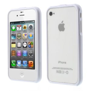 2 in 1 Magnetic Auto-absorbed Plastic Bumper Case for iPhone 4 4S - White