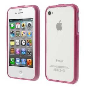 2 in 1 Magnetic Auto-absorbed for iPhone 4 4S Backless Frame Case - Magenta