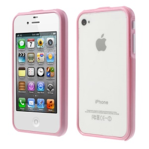 2 in 1 Magnetic Auto-absorbed Bumper Backless Case for iPhone 4 4S - Pink