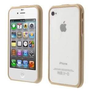 2 in 1 Magnetic Auto-absorbed Bumper Cover Case for iPhone 4 4S - Champagne