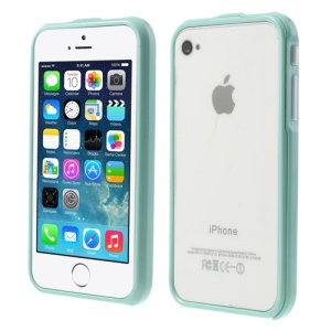 2 in 1 Magnetic Auto-absorbed Bumper Frame Cover for iPhone 4 4S - Cyan