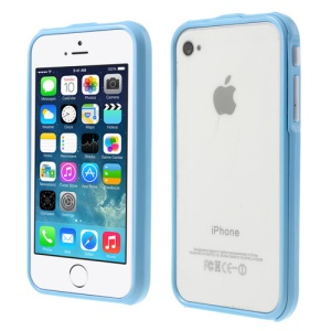 2 in 1 Magnetic Auto-absorbed Bumper Shell Case for iPhone 4 4S - Baby Blue