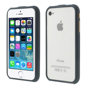2 in 1 Magnetic Auto-absorbed Frame Bumper Case for iPhone 4 4S - Dark Blue