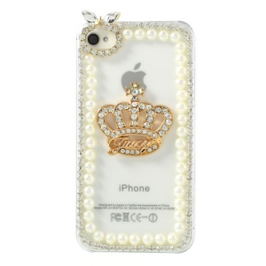 For iPhone 4S 4 3D Crown Diamond Pearl Transparent Clear Hard Plastic Case