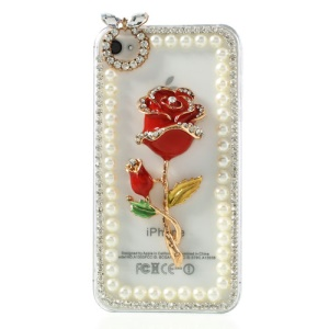 3D Rose Flower Diamond Pearl Transparent Clear Hard Cover for iPhone 4S 4