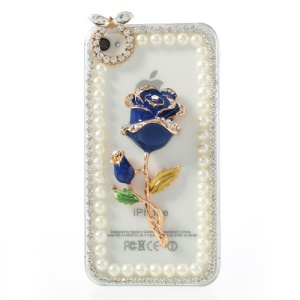 Blue 3D Rose Flower Diamond Pearl Transparent Hard Shell for iPhone 4S 4