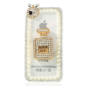 3D Scent Bottle for iPhone 4S 4 Diamond Pearl Transparent Clear Hard Case