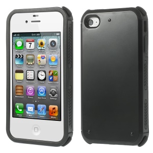 Impact Resistant PC + TPU Hybrid Back Case for iPhone 4 4S - Black