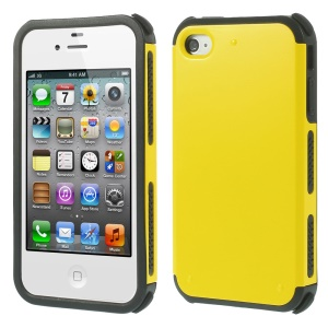 Impact Resistant PC + TPU Hybrid Cover Case for iPhone 4 4S - Yellow