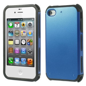 Impact Resistant PC + TPU Hybrid Protection Case for iPhone 4 4S - Blue