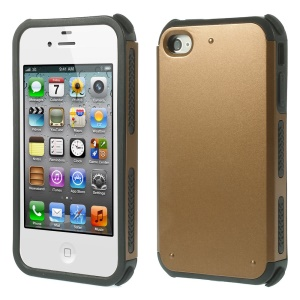 Impact Resistant PC + TPU Hybrid Shell Case for iPhone 4 4S - Brown