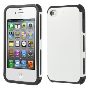 For iPhone 4 4S Impact Resistant PC + TPU Hybrid Case Shell  - White
