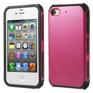 For iPhone 4 4S Armored Impact Resistant PC + TPU Hybrid Cover - Rose