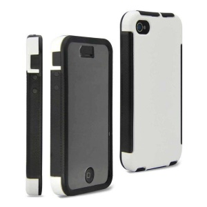2 in 1 PC + TPU Hybrid Cover for iPhone 4 4S w/ Built-in Screen Protector - White