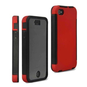 2 in 1 PC + TPU Hybrid Case for iPhone 4 4S w/ Built-in Screen Protector - Red