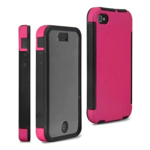 Hybrid PC + TPU 2 in 1 Protector Case for iPhone 4 4S w/ Built-in Screen Protector - Rose
