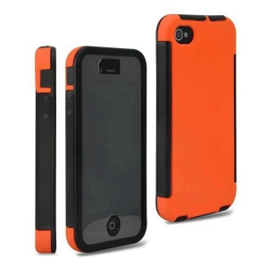 Hybrid PC + TPU 2 in 1 Hard Case for iPhone 4 4S w/ Built-in Screen Protector - Orange