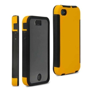 2 in 1 Hybrid PC + TPU Cover Case for iPhone 4 4S w/ Built-in Screen Protector - Yellow