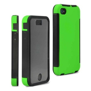 2 in 1 PC + TPU Combo Case for iPhone 4 4S w/ Built-in Screen Protector - Green