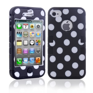3 in 1 Polka Dots PC + TPU Hybrid Protector Case for iPhone 4 4S - Black