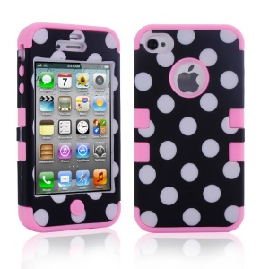 Polka Dots PC + TPU 3 in 1 Hybrid Cover Case for iPhone 4 4S - Pink
