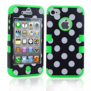 Polka Dots PC + TPU 3 in 1 Hybrid Shield Case for iPhone 4 4S - Green