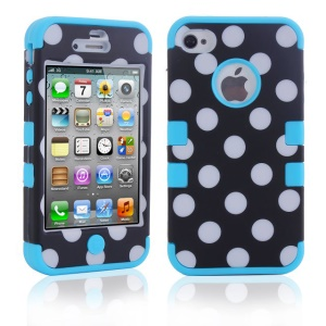 Polka Dots PC + TPU Protective Hybrid Case for iPhone 4 4S - Blue