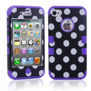 Polka Dots Hybrid PC + TPU Case Accessory for iPhone 4 4S - Purple