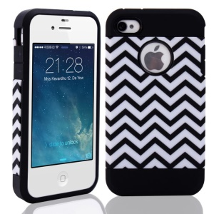 Wave Pattern PC + TPU Hybrid Protector Case for iPhone 4 4S