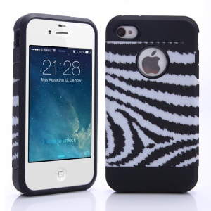 Black & White Strips Pattern PC + TPU Hybrid Cover for iPhone 4 4S