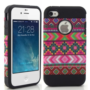 Rose Tribal Tribe Design PC + TPU Hybrid Skin Case for iPhone 4 4S