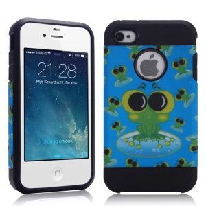 Cute Frogs Design for iPhone 4 4S PC + TPU Hybrid Case Accessory