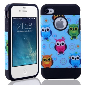 Lovely Owls Pattern for iPhone 4 4S PC + TPU Hybrid Case Cover