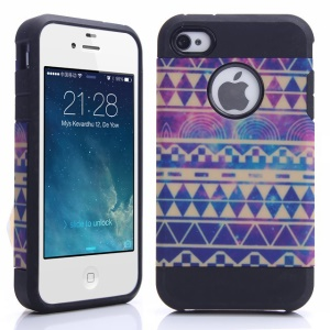 Violet Tribal Pattern PC + TPU Combo Case Cover for iPhone 4 4S