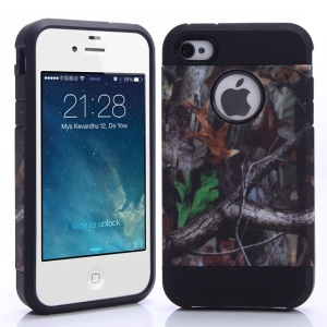 Grey Branch & Two Leaves Image PC + TPU Combo Shell for iPhone 4 4S