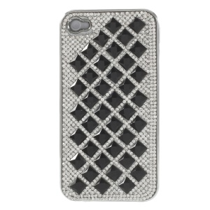 For iPhone 4S 4 3D Rhombus Pattern Diamond Hard Plated Back Case - Black