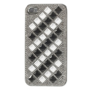 For iPhone 4S 4 3D Rhombus Pattern Diamond Hard Plated Case - White / Black