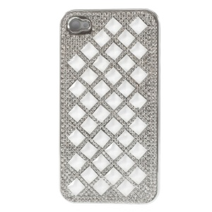 For iPhone 4S 4 3D Rhombus Pattern Diamond Plated Hard Back Shell - White
