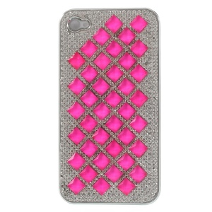 For iPhone 4S 4 3D Rhombus Pattern Diamond Plated Hard Back Shell - Rose